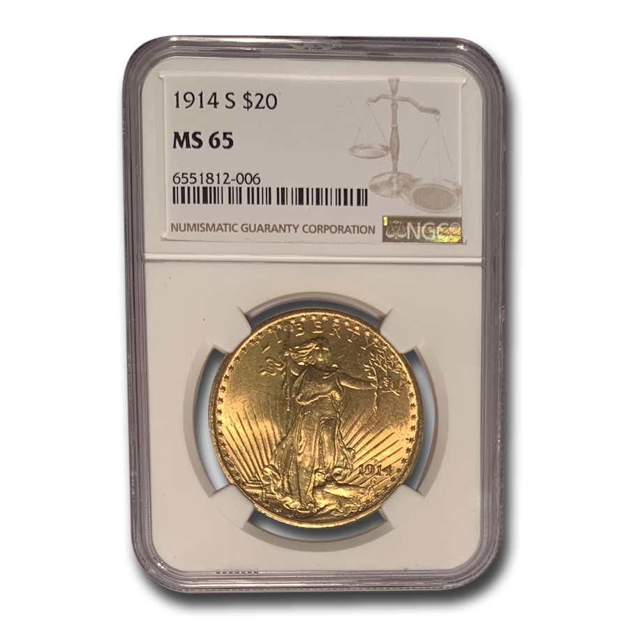 1914-S $20 St. Gaudens Gold Double Eagle MS-65 NGC